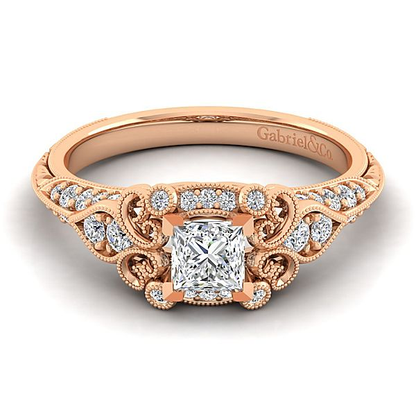 14K Rose Gold Gabriel Princess Cut Halo Engagement Ring With 0.30 Side Diamond Weight by Gabriel & Co