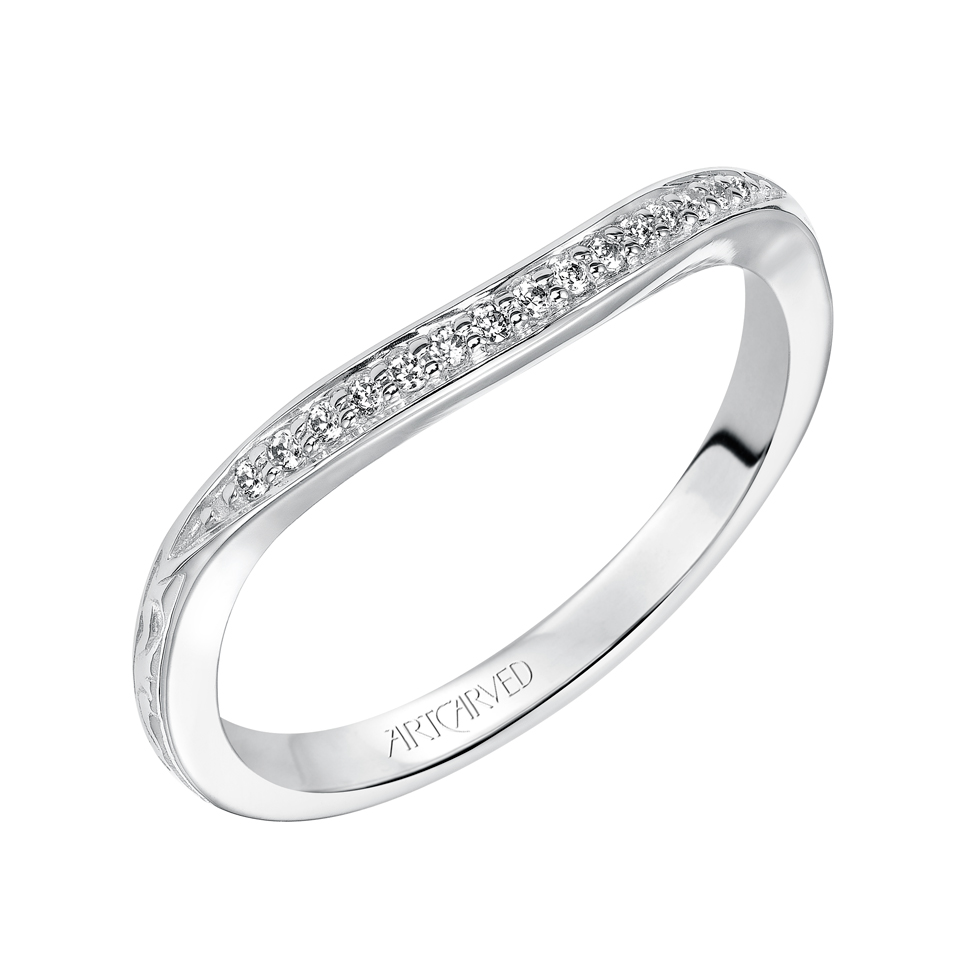 14K White Gold Art Carved Diamond Wedding Band With 0.08 Total Diamond Weight by ArtCarved