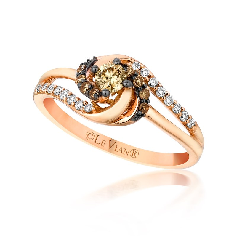 14K Rose Gold LeVian Petite Chocolate & Vanilla  Diamond Twist Ring by Le Vian
