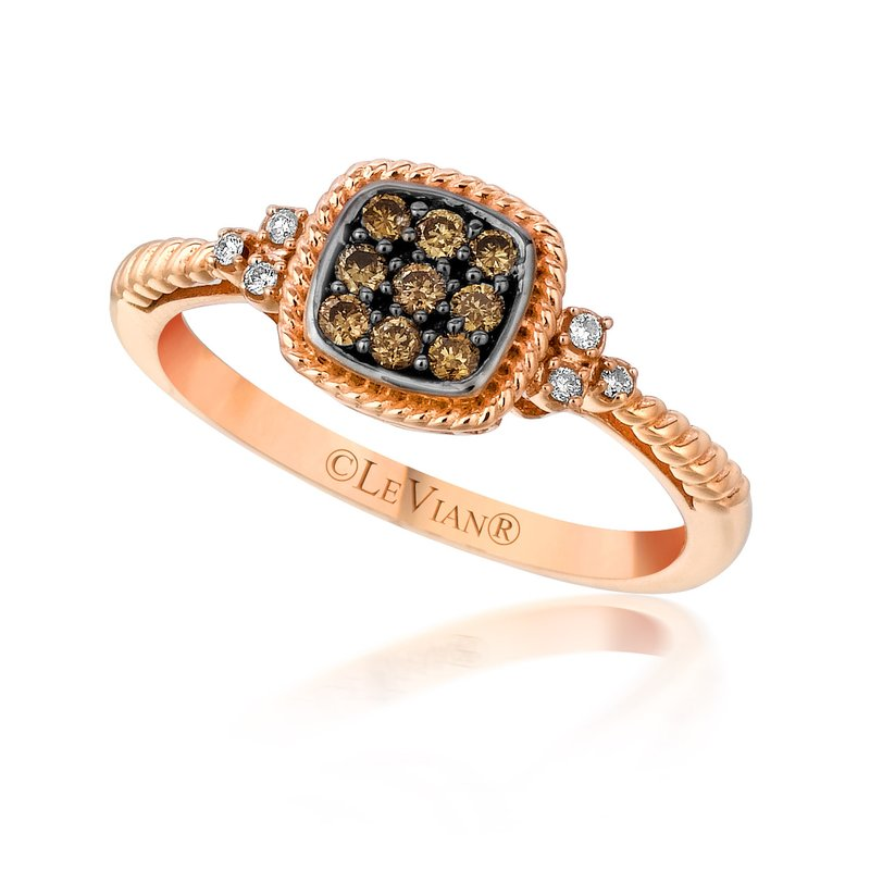 14K Rose Gold LeVian Petite Chocolate & White Diamond Ring Framed Cushion Cluster by Le Vian