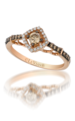 14K Rose Gold LeVian Petite Chocolate & White Diamond Halo Ring With Chocolate Center 0.39 Total Diamond Weight by Le Vian