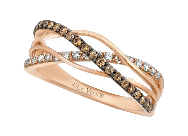 14K Rose Gold LeVian Petite Chocolate & White Diamond Band 0.42 Total Diamond Weight by Le Vian