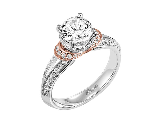 Artcarved Tahlia Engagement Ring With Split Shank  In 14K White and Rose Gold With 0.38 Side Diamond Weight by ArtCarved