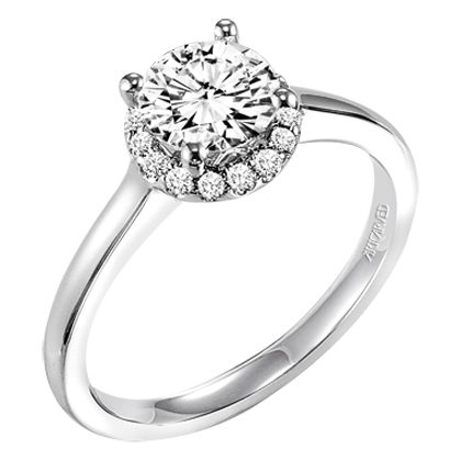 Artcarved Allison Engagement Ring Halo Solitaire 0.12 Side Diamond Weight With 16 Diamonds in 14K White Gold by ArtCarved