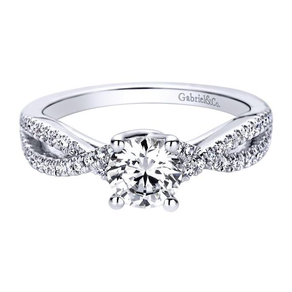 14K White Gold Gabriel Gina Engagement Ring With 0.25 Total Side Diamond Weight by Gabriel & Co