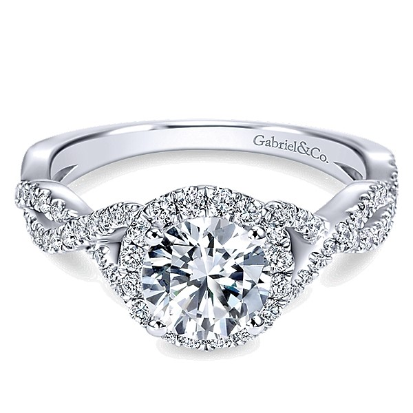 14K White Gold Gabriel Marissa Engagement Ring With 0.42 Side Diamond Weight by Gabriel & Co