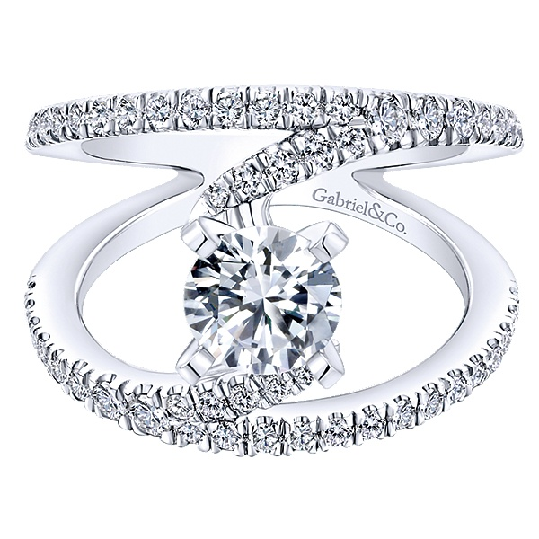 14K White Gold Gabriel NOVA Engagement Ring With 0.67 Side Diamond Weight by Gabriel & Co