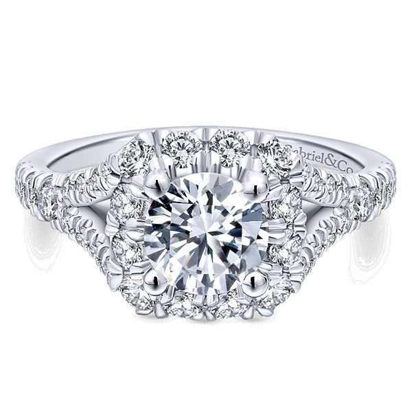 14k White Gold Gabriel NY Round Halo Engagement Ring With 1.06 Side Diamond Weight by Gabriel & Co