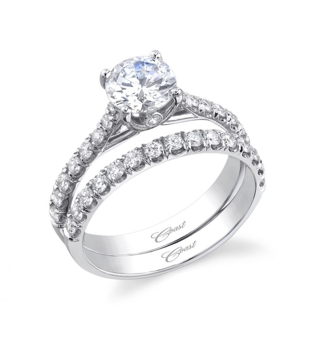 14K White Gold Coast Classic Engagement Ring With 18 Diamonds 0.27 Side Diamond Weight by Coast Diamond