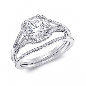 14K White Gold Split Shank Halo Engagement Ring From Coast With 0.18 Side Diamond Weight by Coast Diamond