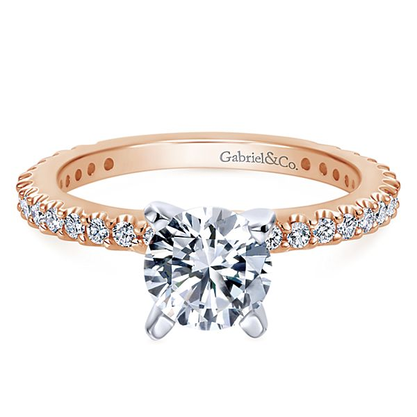 14K Rose Gold Gabriel Logan Engagement Ring With 0.35 Side Diamond Weight by Gabriel & Co