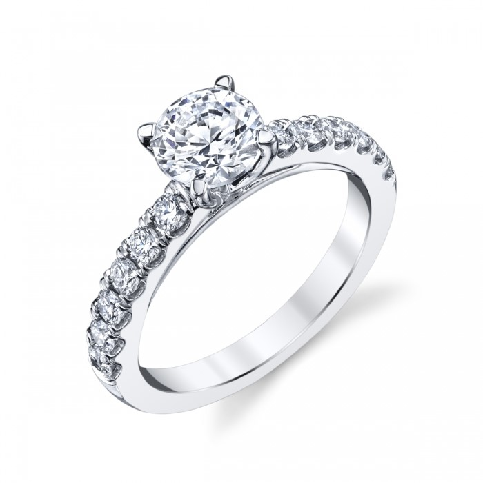 Coast Diamond Charisma Collection Cathedral Shared Prong Engagement Ring With 0.40 Side Diamond Weight by Coast Diamond
