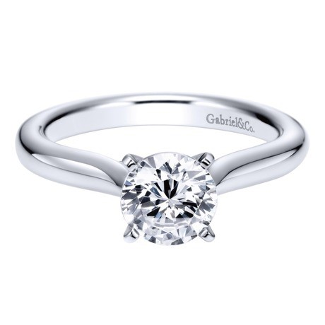14K White Gold Gabriel Lauren Engagement Ring Solitaire by Gabriel & Co