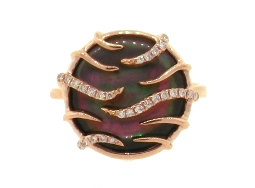 Frederic Sage Mini Luna Ring Black Mother of Pearl & Diamonds by Frederic Sage