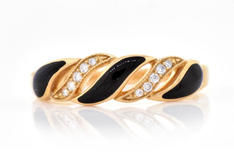 Kabana  Onyx & Diamond Inlay Ring by Kabana