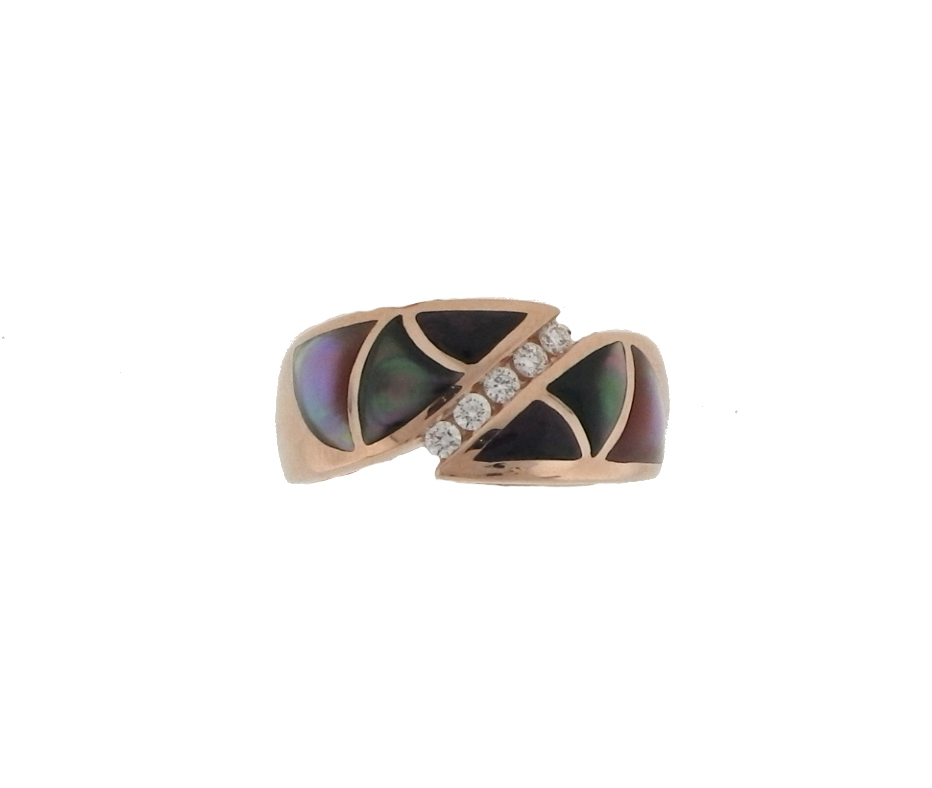 Kabana  Lavender Mother Of Pearl & Diamond  Inlaid Ring by Kabana