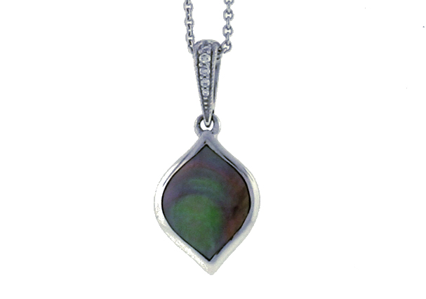 Kabana Black Mother of Pearl Drop Pendant With Diamond Bail WPCF430MB-CH by Kabana