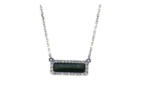 Frederic Sage  Black Mother of Pearl  & Diamond Bar Necklace P3067K-4-WGBM by Frederic Sage