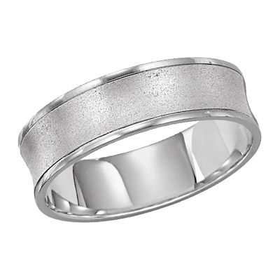 Lieberfarb 6 mm Concave Wedding Ring Satin and Polished in 14K White by Lieberfarb
