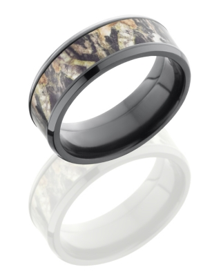 Lashbrook Men's 8 mm Black Zirconium Wedding Ring with Mossy Oak Camo by Lashbrook Designs