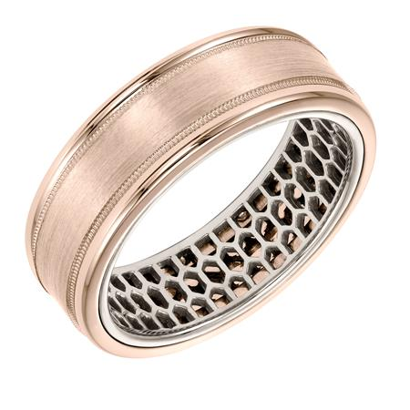 Art Carved 7 mm Flat Milgrain and Satin Finish Wedding Ring with Mesh Design Inside 14K Rose and White by ArtCarved