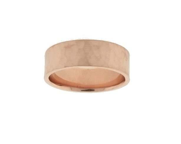 Lieberfarb 7 mm Flat Hammered Wedding Ring in 14K Rose by Lieberfarb