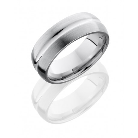 Lashbrook Cobalt Wedding Ring 7 mm Grooved Band Satin & Polished by Lashbrook Designs