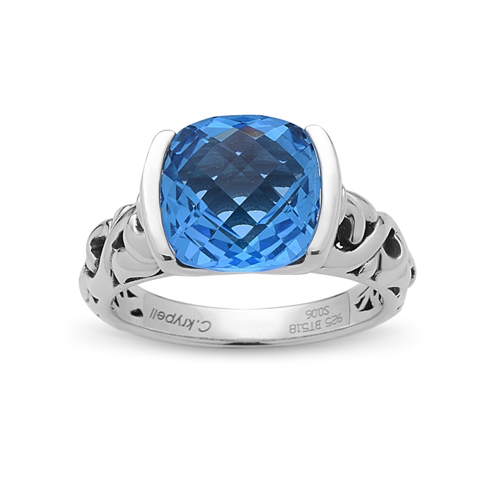Charles Krypell Cushion Cut Blue Topaz Ring with Round Blue Sapphires Sterling 3-6856-SBT by Charles Krypell