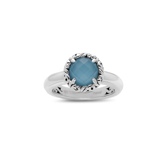 Charles Krypell, Turquoise Ivy Halo Ring, Sterling by Charles Krypell