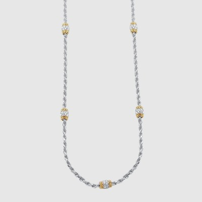 "Capponi 17"" Station Necklace with White Sapphire, PRN5135YW17 by Charles Garnier Paris"