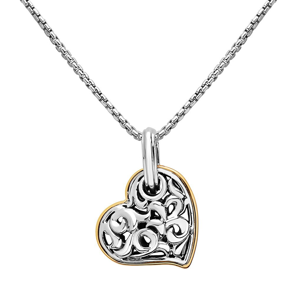 Charles Krypell, Filigree Heart Pendant, Sterling and 18K Yellow by Charles Krypell