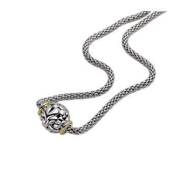 Charles Krypell, Large Filigree Bead with Cage Chain Sterling/18K Yellow 4-6860-SG by Charles Krypell