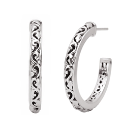 Charles Krypell 40 mm Ivy Hoops Sterling with 14K Posts by Charles Krypell