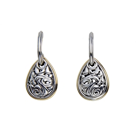 Charles Krypell Teardrop Filigree Dangles Sterling and 18K Yellow by Charles Krypell