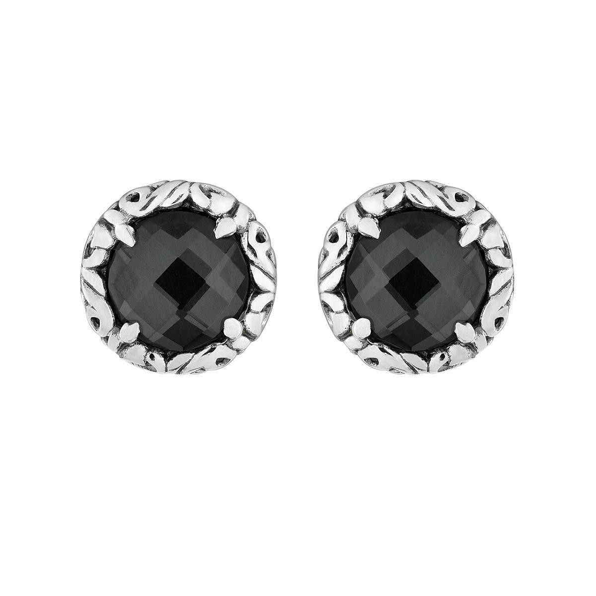 Charles Krypell 8 mm White Quartz over Hematite Earrings Sterling by Charles Krypell