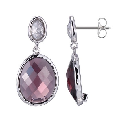 Brands 88 E0799, Fire & Ice Plum CZ Drop Earrings by Elle Jewelry