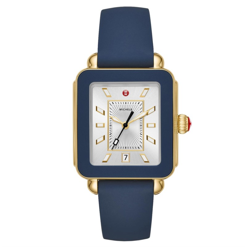 Michele Deco Sport Gold Tone Navy Silicone Watch MWW06K000001 by Michele Watch