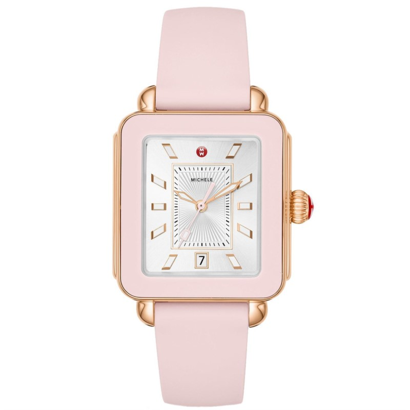Michele Deco Sport Rose Tone Pink Silicone Watch MWW06K000005 by Michele Watch
