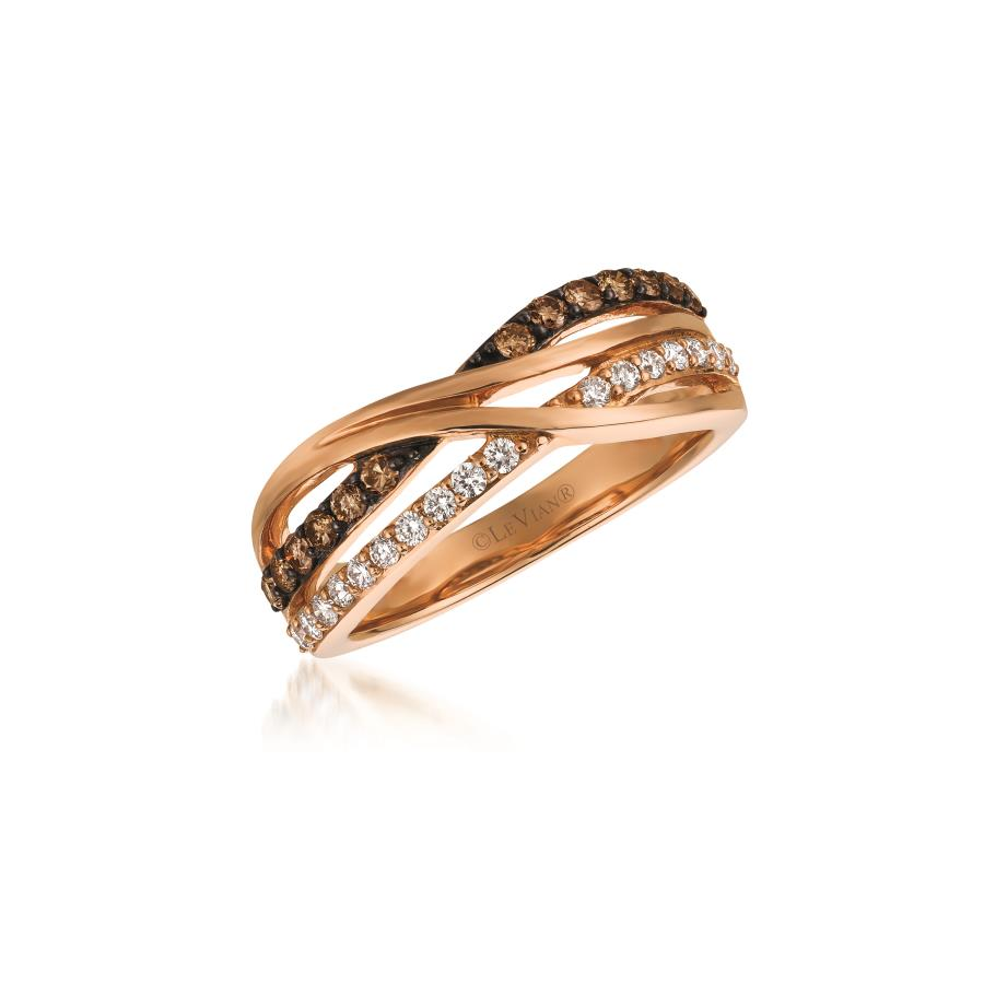 14K Rose Gold  LeVian Chocolate & Vanilla Diamond Weave Ring 0.52 Total Diamond Weight by Le Vian