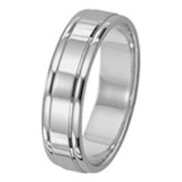 Lieberfarb 6 mm Wedding Ring with Polished Center and Polished Edges in 14K White by Lieberfarb