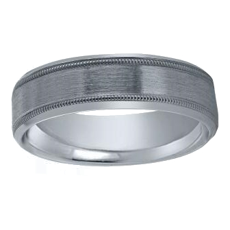 Lieberfarb 6 mm Platinum Wedding Ring with Low Dome Satin and Milgrain by Lieberfarb
