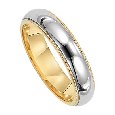 Lieberfarb 6 mm Wedding Ring with Polished Center and Milgrain Edges in 14K Yellow and White Gold by Lieberfarb