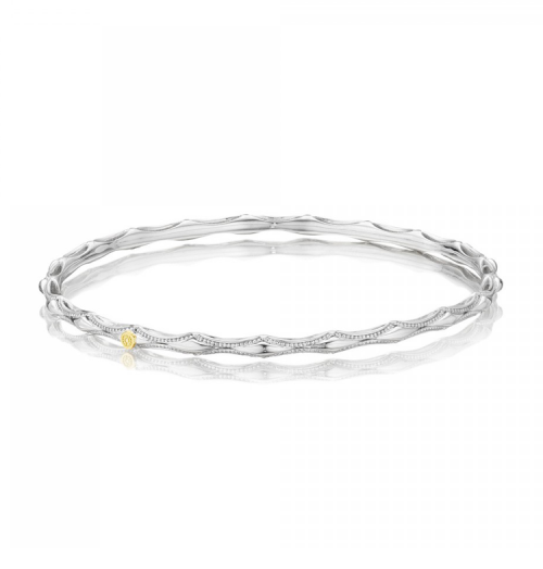 Tacori Classic Rock Slim Crescent Bangle  #SB118-M in Sterling Silver and 18K Yellow by Tacori