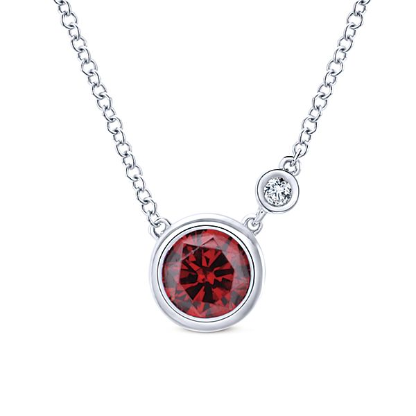 0.02 Diamond and Garnet Necklace, NK5241SV5GN by Gabriel & Co