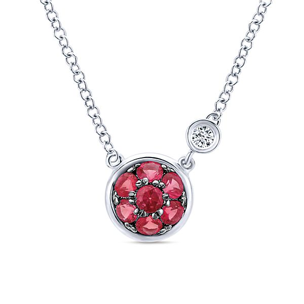0.02 Diamond and Ruby Necklace, NK5240SV5RB by Gabriel & Co