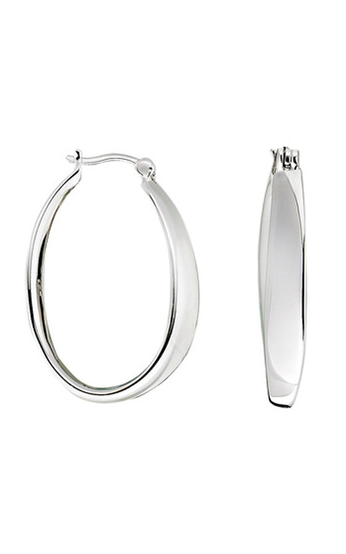 Elle E0084, Polished Oval Click Hoops, Item 1 by Elle Jewelry