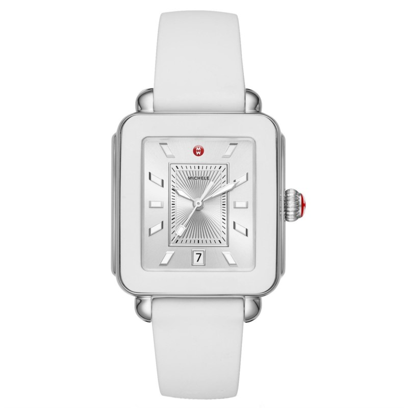 Michele Deco Sport Stainless White Silicone Watch MWW06K000004 by Michele Watch